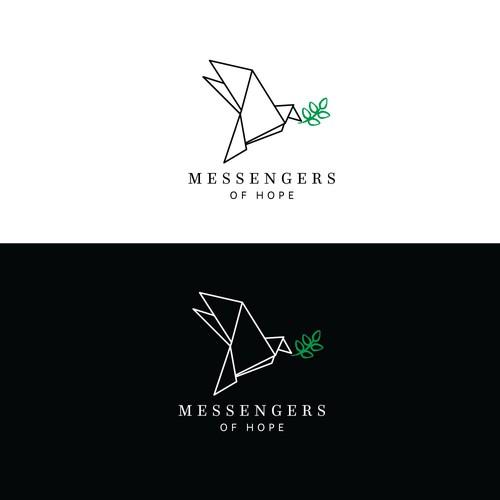 Elegant dove and olive branch logo