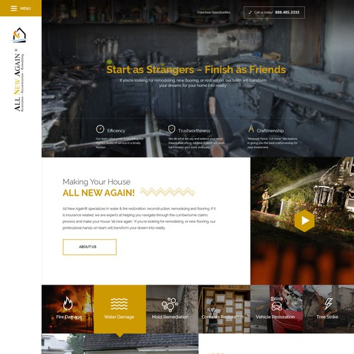 Design the best future website on the internet for All New Again - an emeregency restoration company