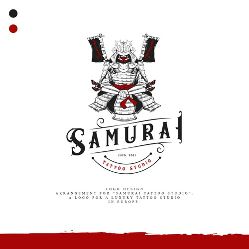 "Design a logo for a luxury tattoo studio in Europe ""SAMURAI Tattoo Studio"""