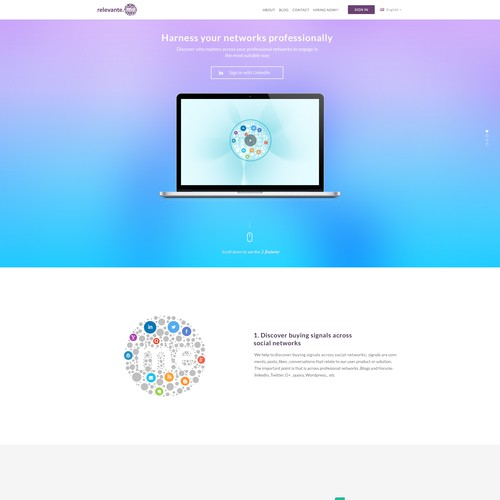 Create 3 graphs or animations and the header of a redesing landing page for relevante.me