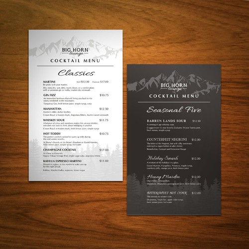 Seasonal Mountain Resort Cocktail Menu