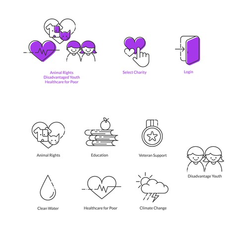 Various Icon for Charity Project