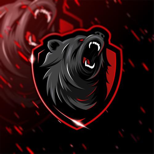 Logo Gaya eSports Beruang Agresif Untuk Merek Nutrisi Olahraga