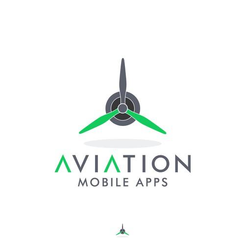 Logo design for an aviation mobile app interface.