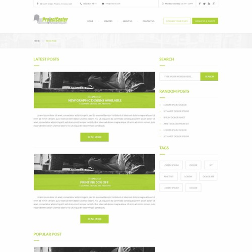 Ecommerce site design for a locally-owned print shop - Blog page