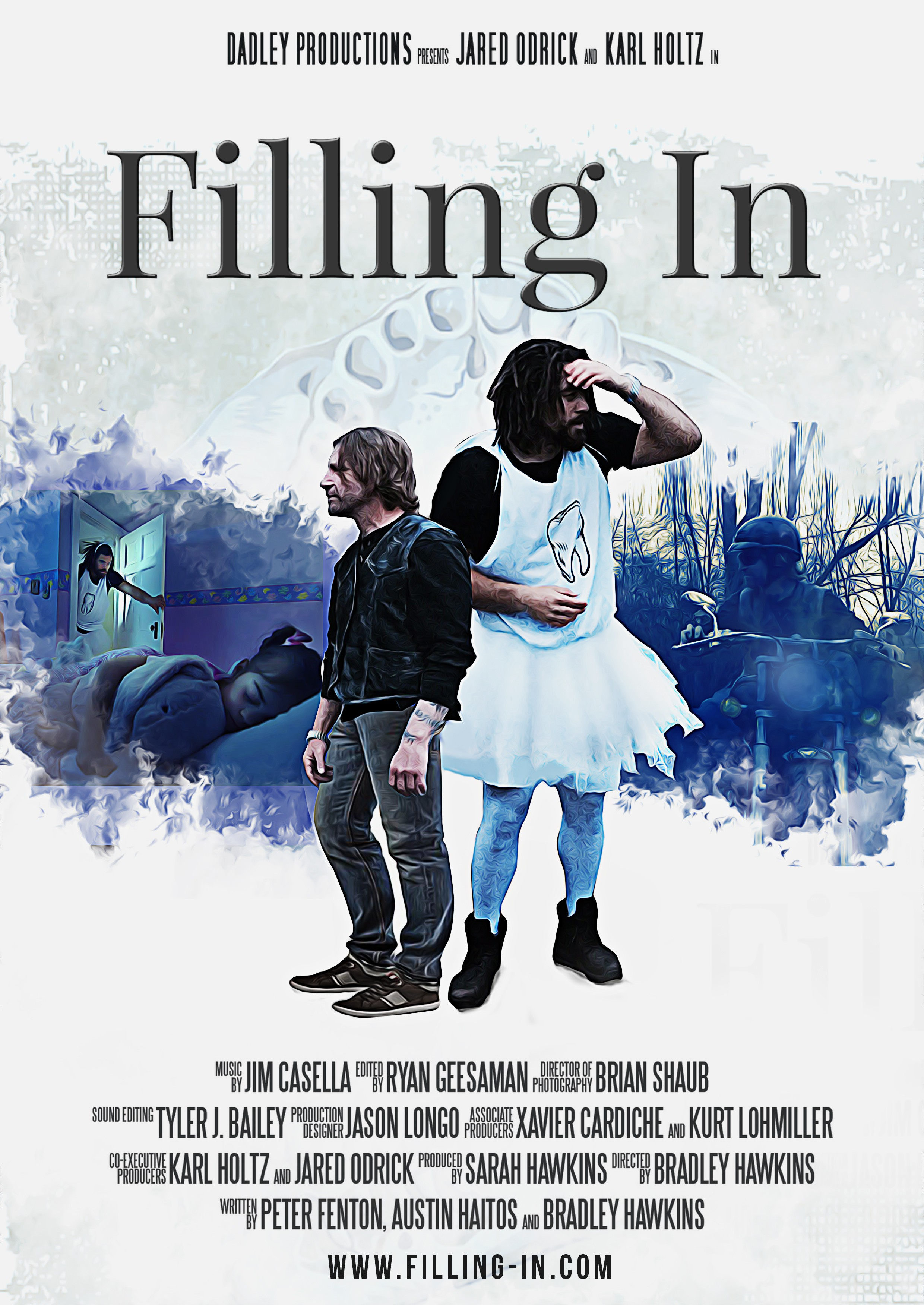 Design a movie poster for the comedy short, FILLING IN.