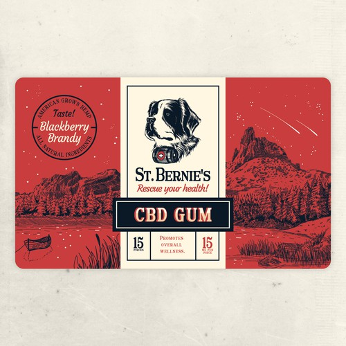 St. Bernie's dog CBD Gum label design