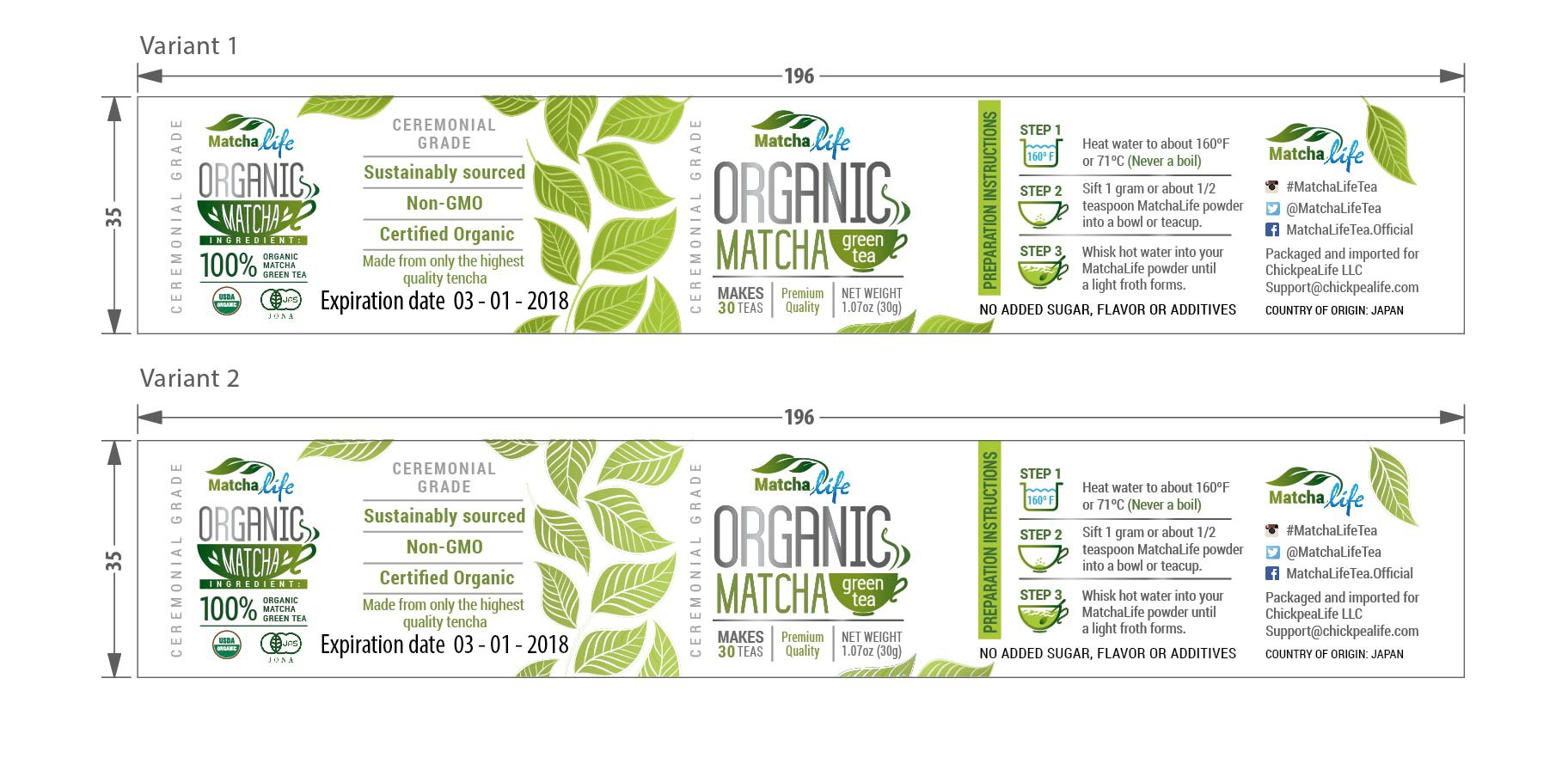 Create an amazing product label for organic MatchaLife matcha green tea!