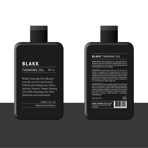 label for Blakk tanning oil
