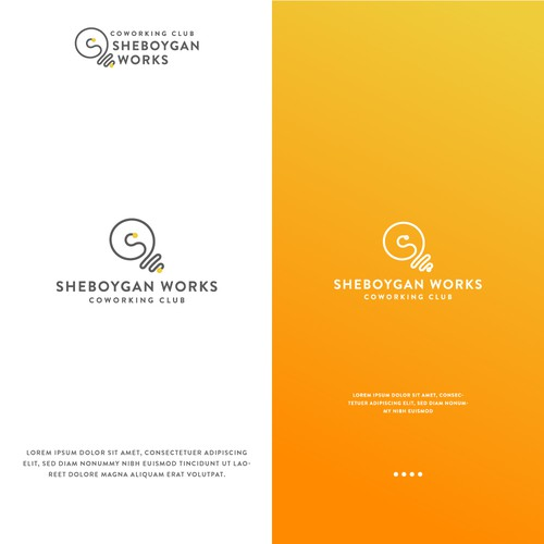 Minimalist logo for SHEBOYGAN WORKS Coworking Club