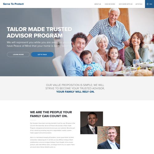 Home page design for an Advisor Company