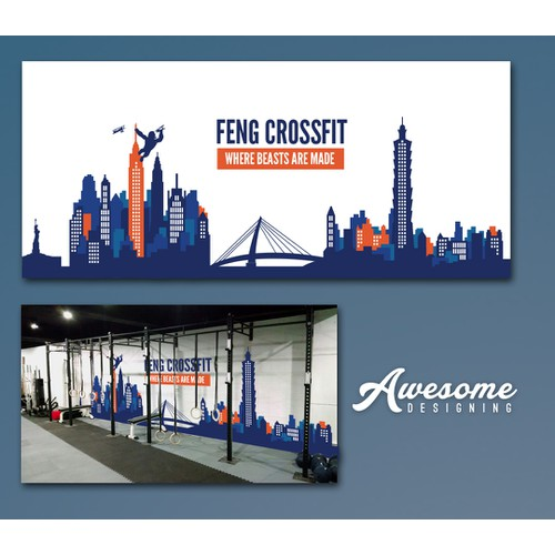 Create a piece of art that will be painted on a wall for Feng CrossFit - Taipei