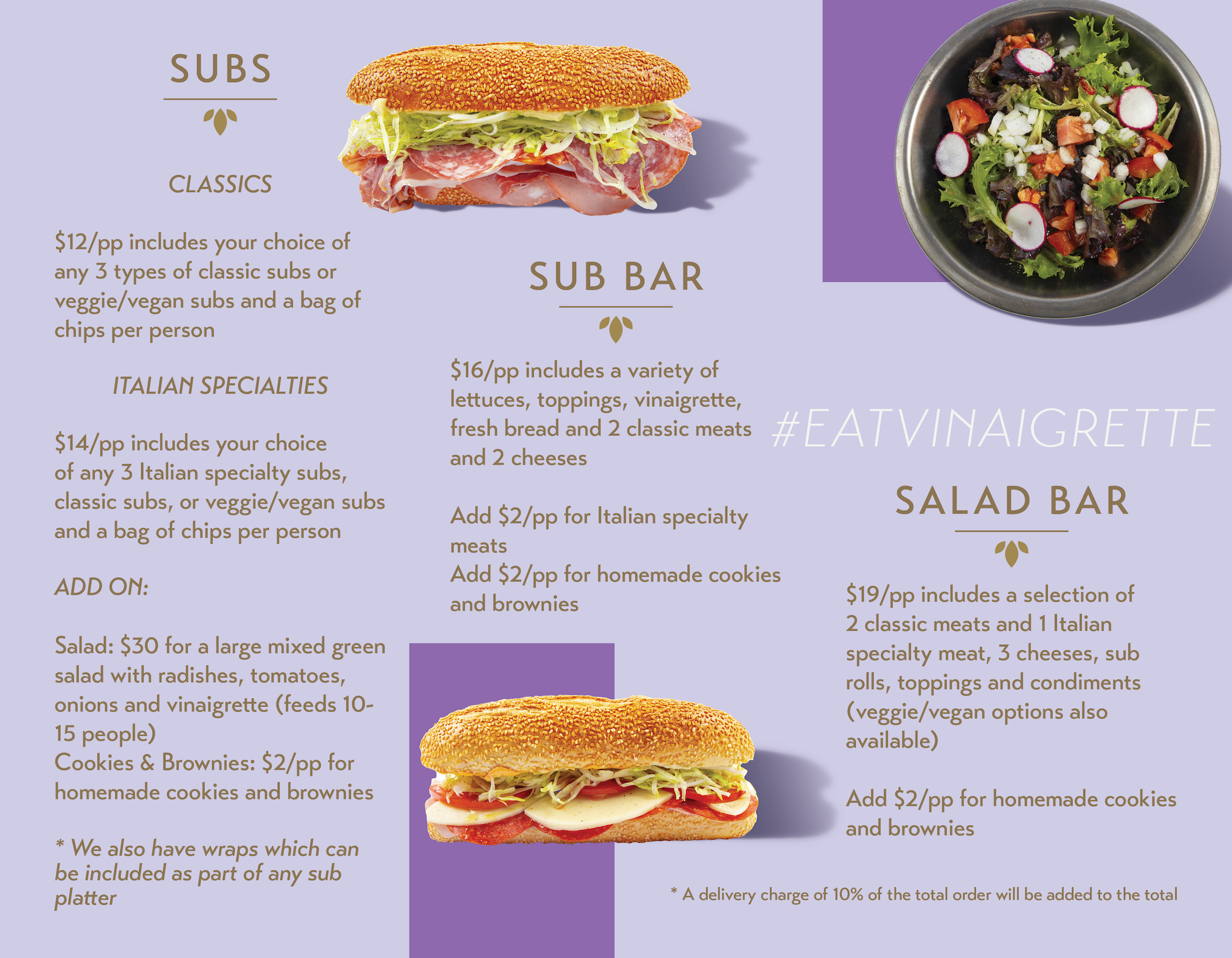 Vinaigrette Sub Shop - Catering Menu