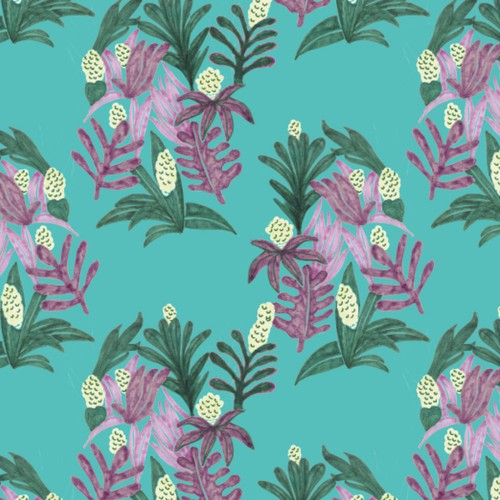 Botanical tropical pattern in blue