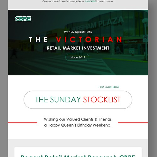 CBRE Retail Shopping email template
