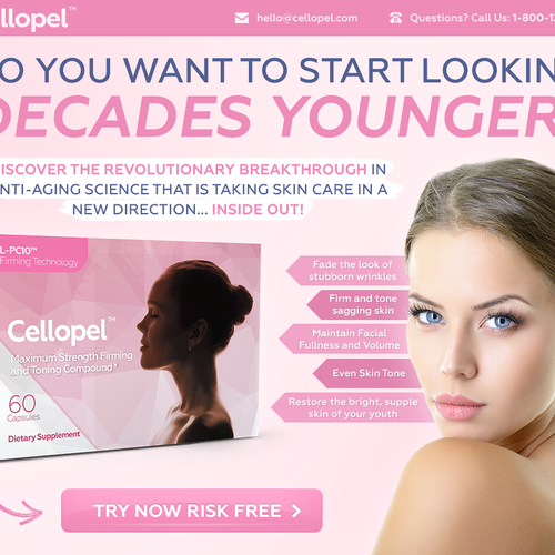 Landing page design for new skin care product