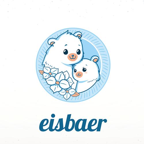 Cute icebear mascots logo for flower company!
