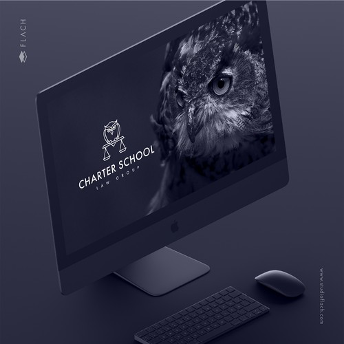 Geometric and sophisticated logo and website for a charter school law firm.