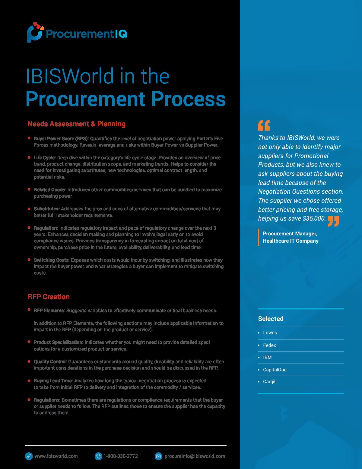 Procurement IQ Brochures, Cheat Sheets & Case Studies