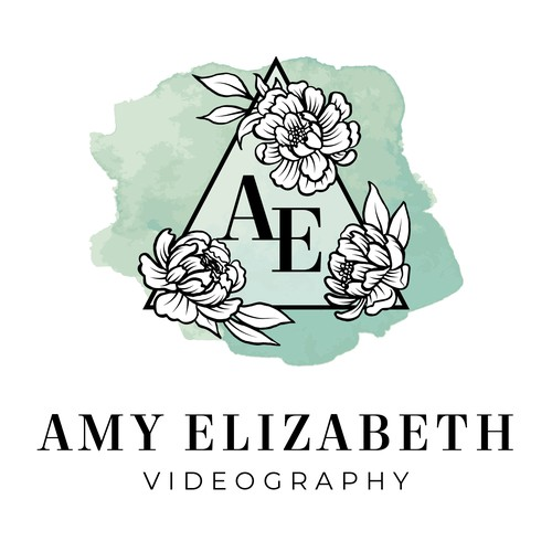 Floral Watercolor Logo For Wedding Videographer