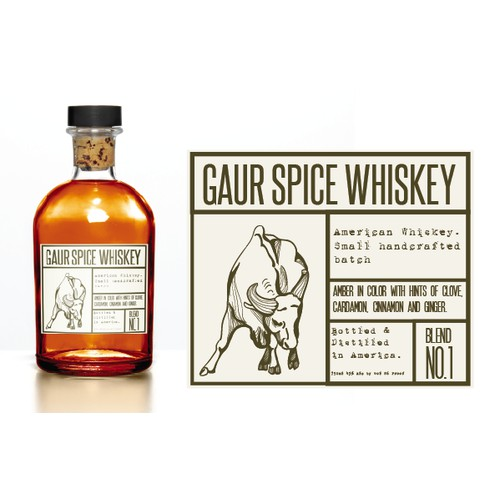 Whiskey label with a gaur bull