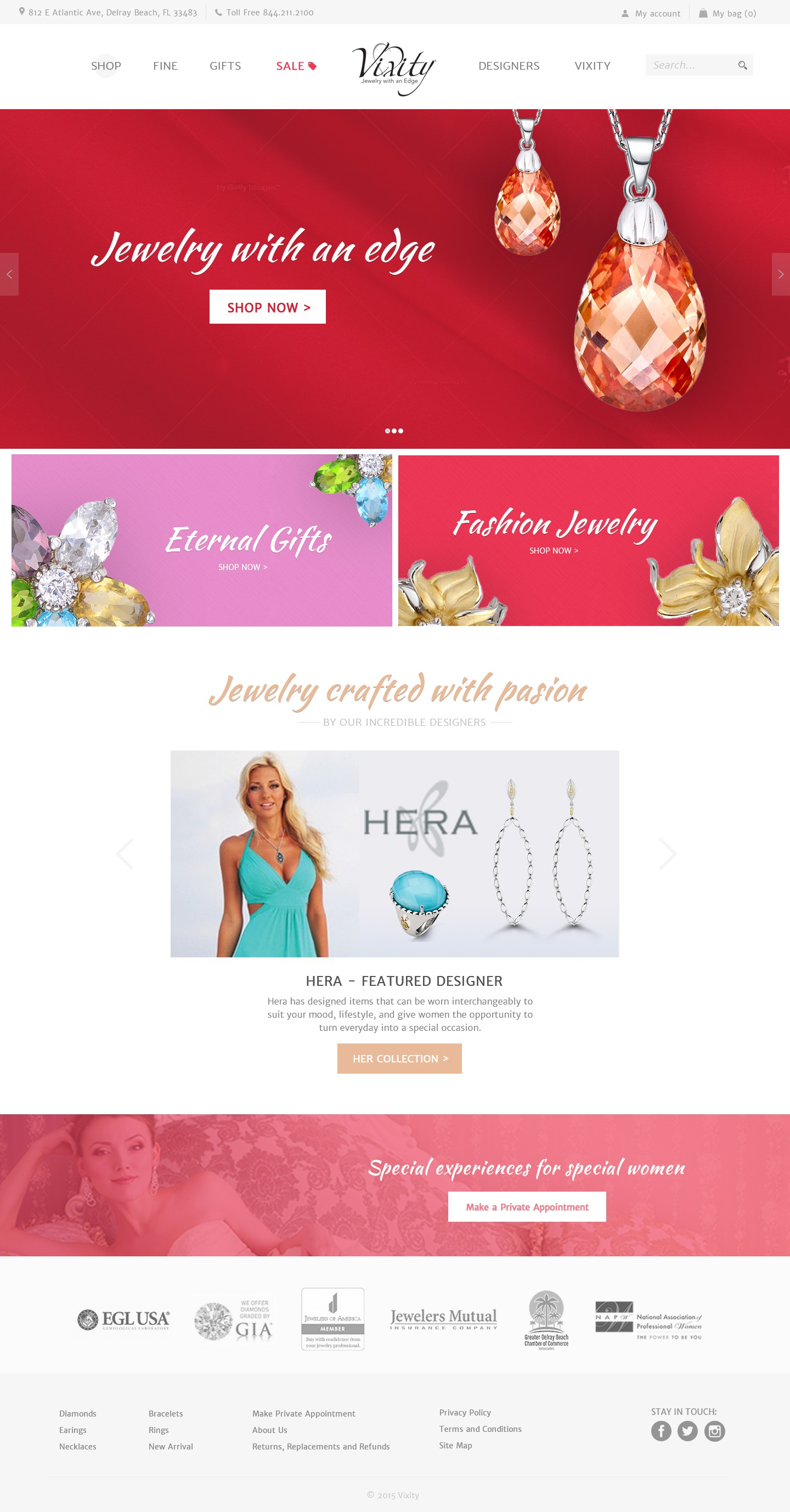 Create an elegant website re-design for the Vixity Jewelry Store
