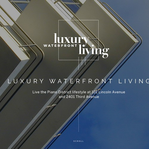 Long page for a luxury waterfront development.