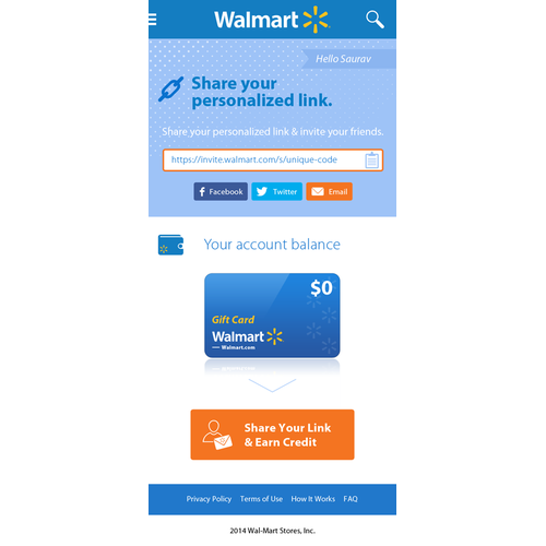 Website for Walmart's Invite a Friend program