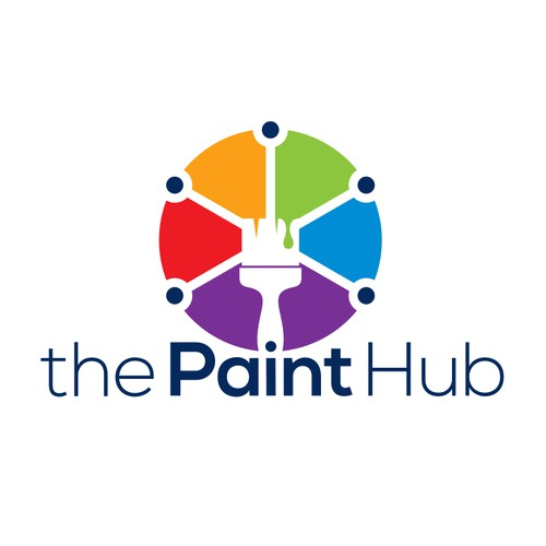 double meaning and colorful logo concept for the Paint Hub