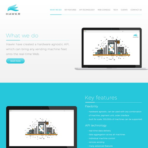 Disruptive tech start-up home page design