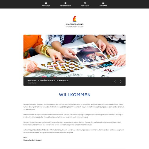 website design für Silvana Kundert Imageberatung