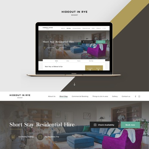 Website Subpage For Stylish Holiday Rental