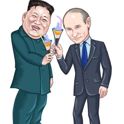 Карикатура Путин и Ким Чен Ын