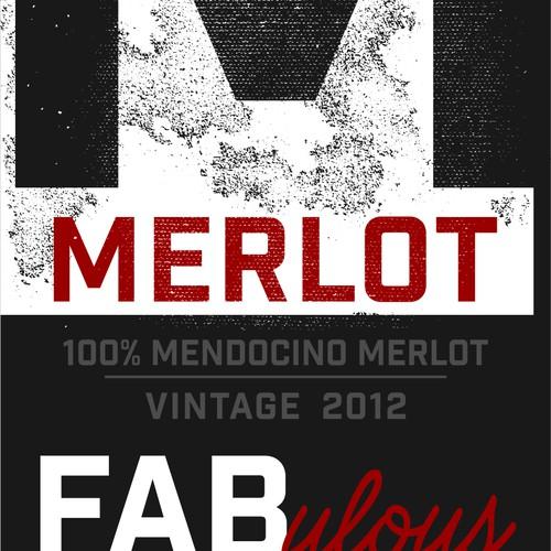 FABulous Merlot Wine Bottle Label Design
