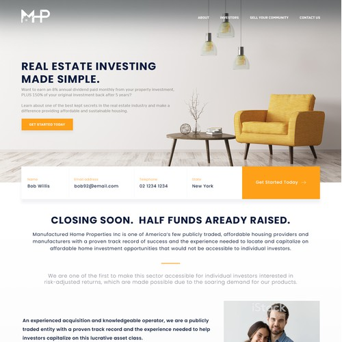 Real Estate Investing Landing page