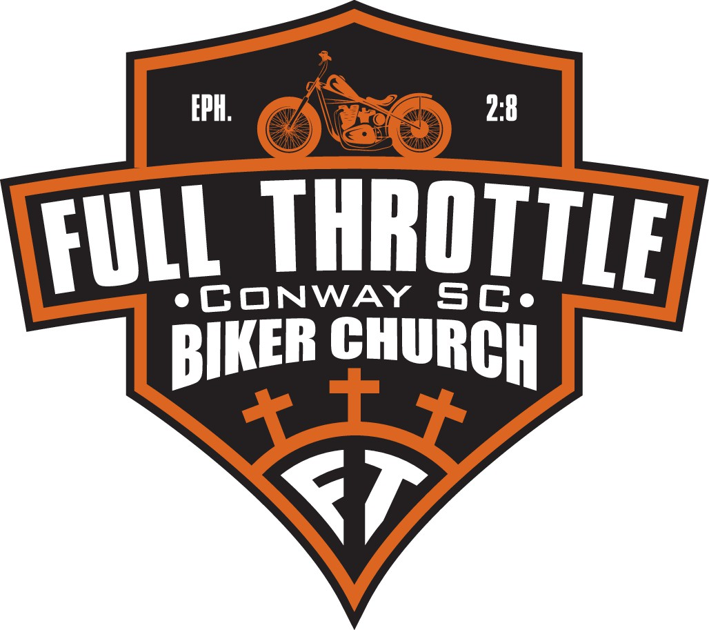 The original Full Throttle Biker Church logo that has Conway, SC in the same place Western, NC