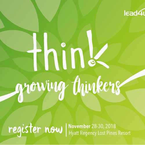 "Postcard for lead4ward think ""growing thinkers"" conference"