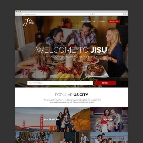 Welcome to Jisu! A web design for US homestays