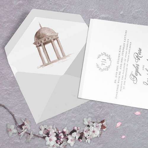 Simple Rotunda Illustration for a Wedding Invitation