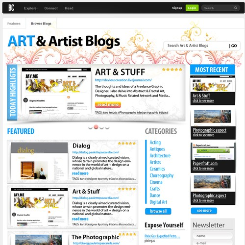 Magazine Style Page to Highlight Blogs and Bloggers