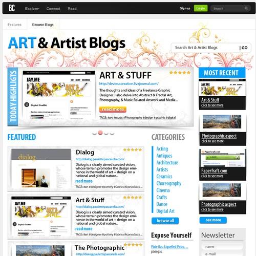 杂志样式页面突出显示博客和博主