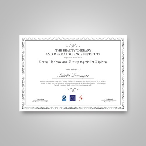 Diploma Document artwork for The Beauty Therapy and Dermal Science Institute
