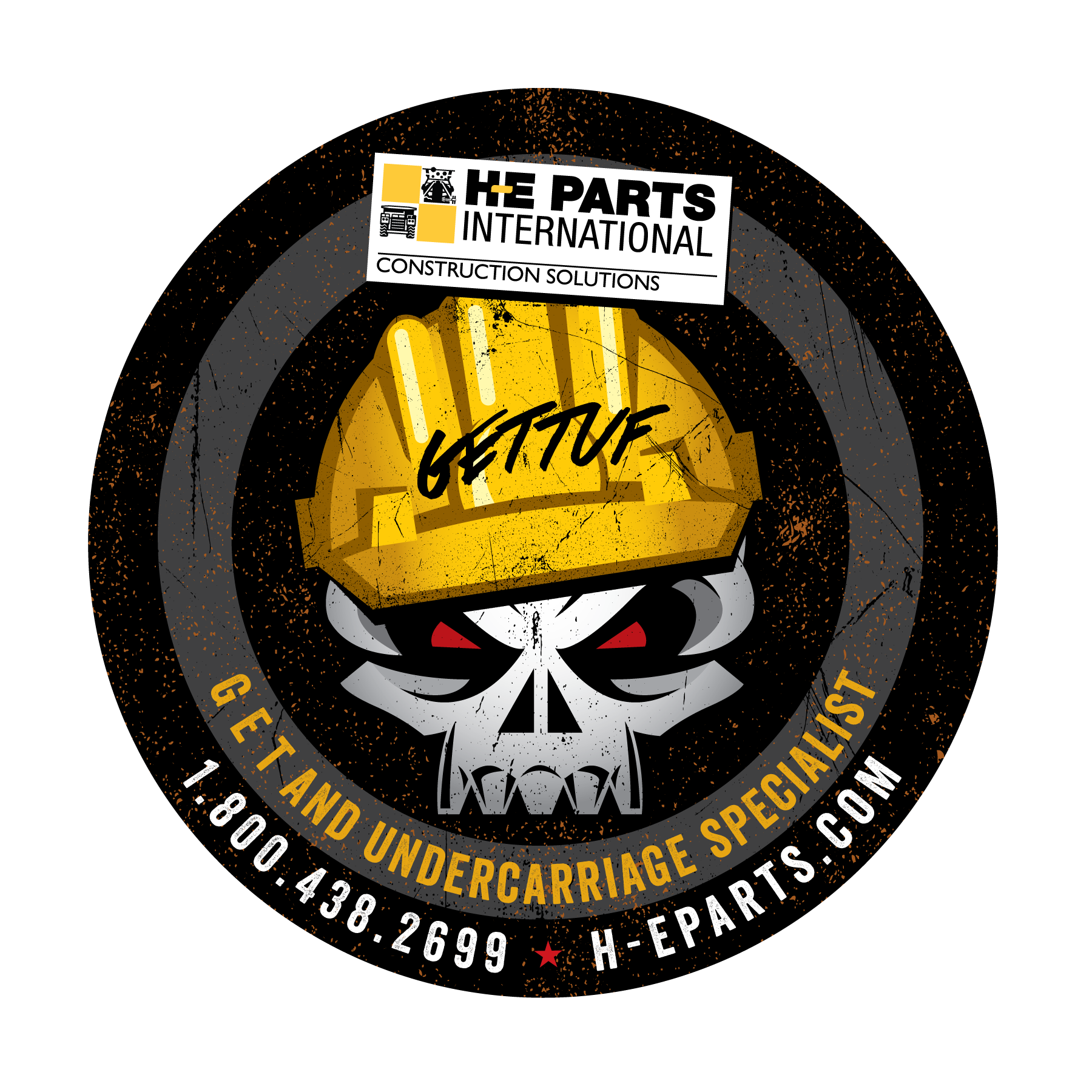 Create a masculine, tough, and sinister-looking sticker that will appear on construction equipment all over the US!