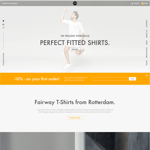 Webdesign for a tailored shirt company