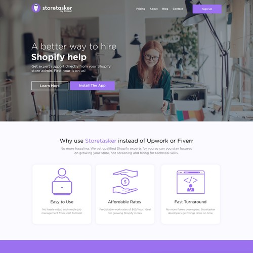 Web page design for Storetasker
