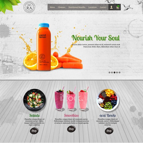 Home page design for Juice Bar
