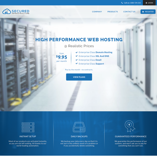 Website for online hosting services.