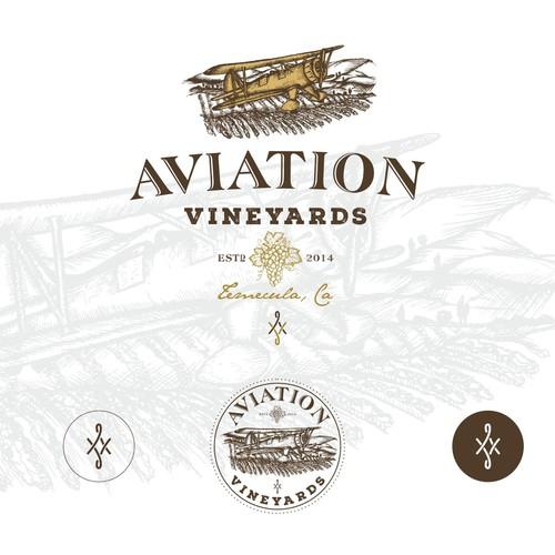 Aviation Vineyards logo design