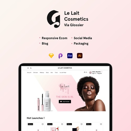 Le Lait Cosmetics E-commerce, Blog, Social media and Packaging