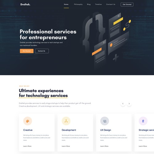 Clean slate/no existing design for technology services company
